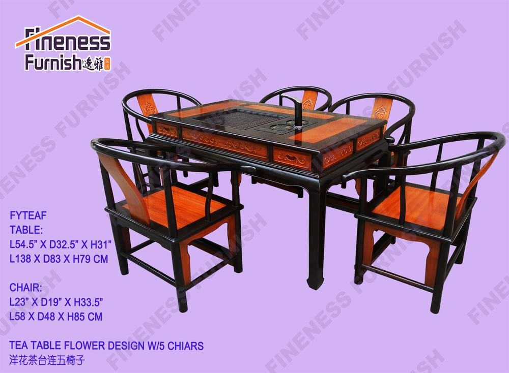 Tea Table Flower Design W/5 Chairs