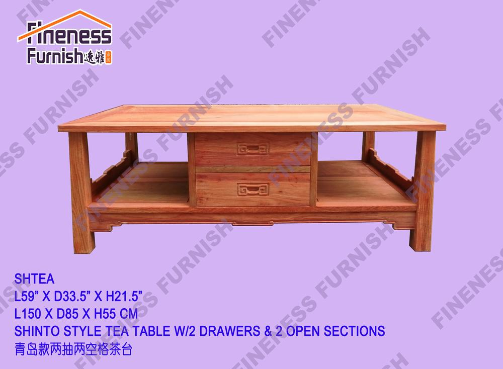 Shinto Style Tea Table W/2 Drawers & 2 Open Sections