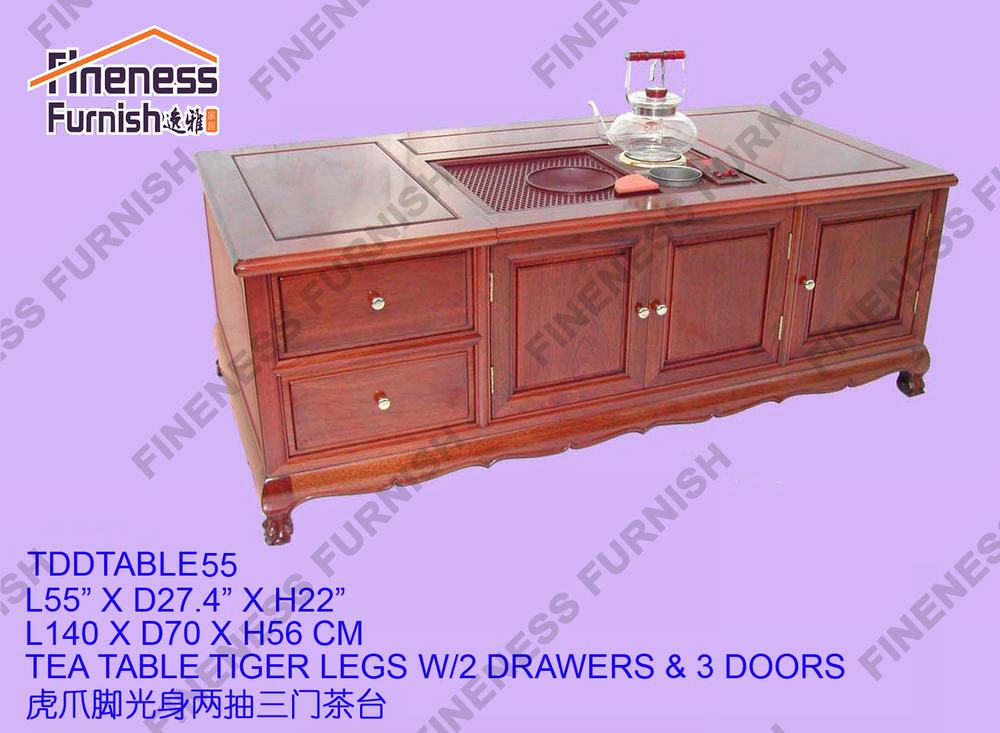 Tea Table Tiger Legs W/2 Drawers & 3 Doors