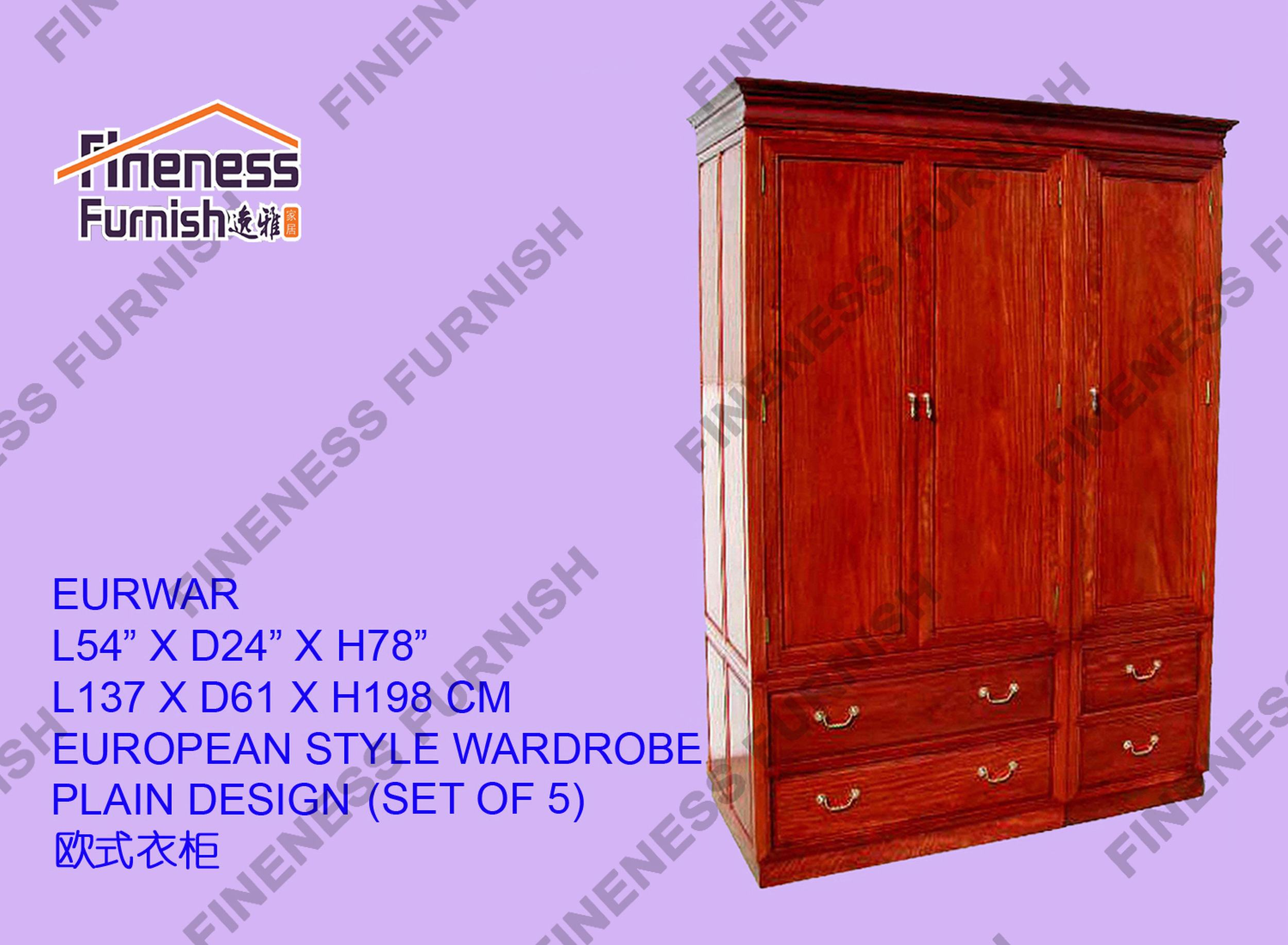 European Style Wardrobe Plain Design(Set Of 5)