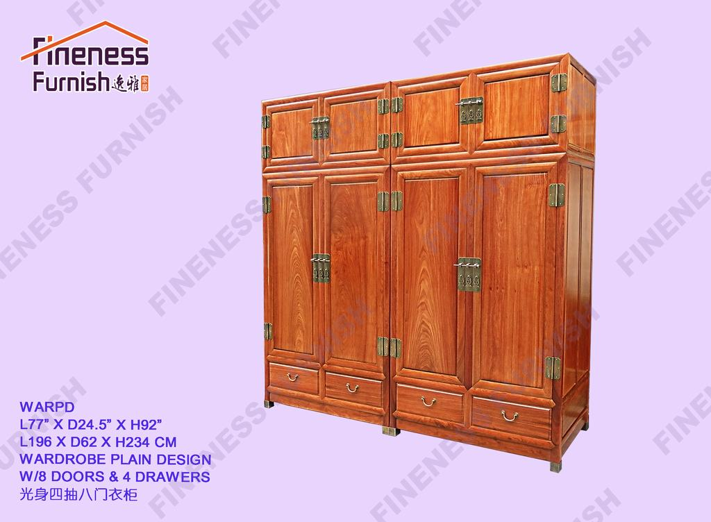 Wardrobe Plain Design W/8 Doors & 4 Drawers
